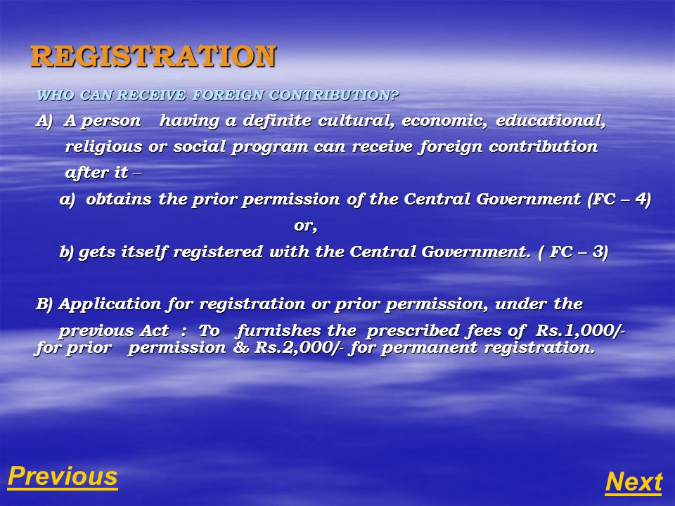 REGISTRATION WHO CAN RECEIVE FOREIGN CONTRIBUTION.