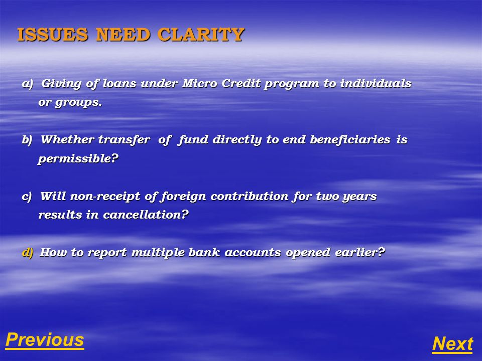 a) Giving of loans under Micro Credit program to individuals or groups.