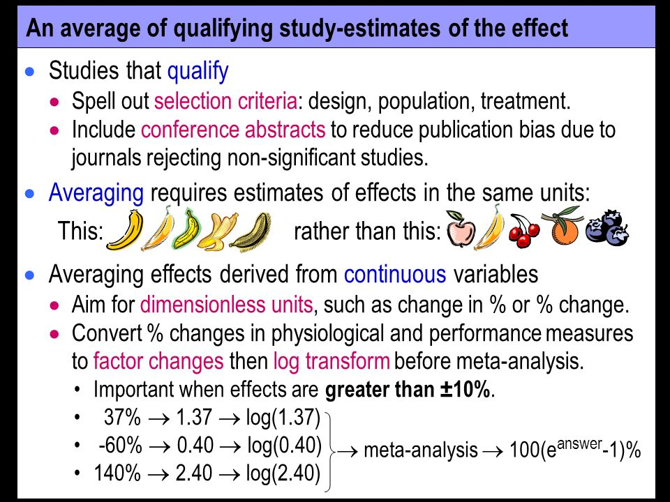 An average of qualifying study-estimates of the effect Studies that qualify Spell out selection criteria: design, population, treatment.