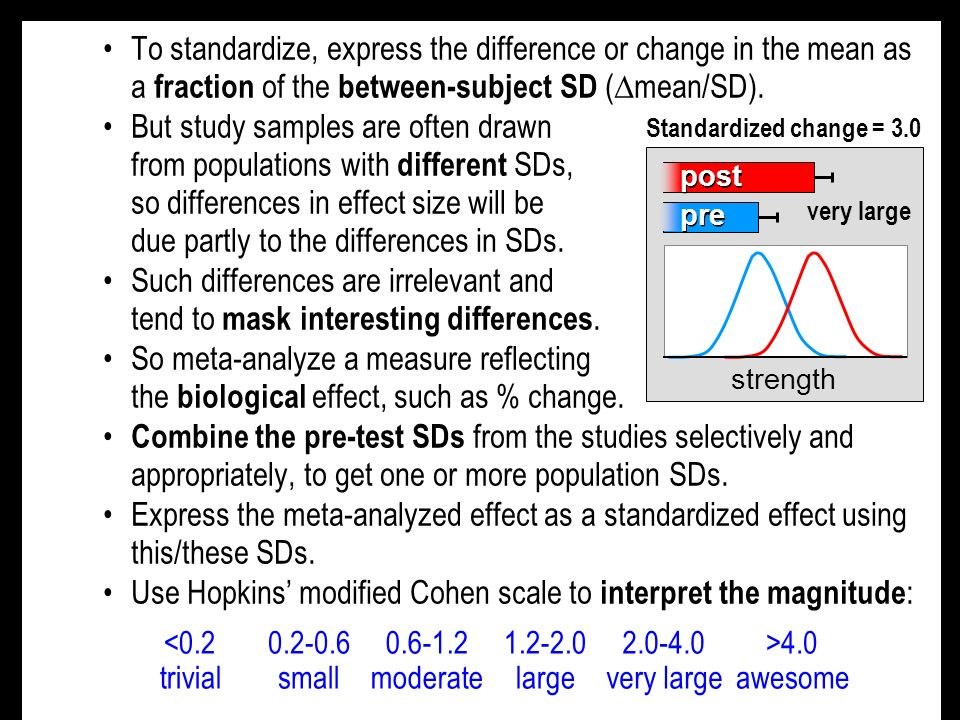 To standardize, express the difference or change in the mean as a fraction of the between-subject SD ( mean/SD).