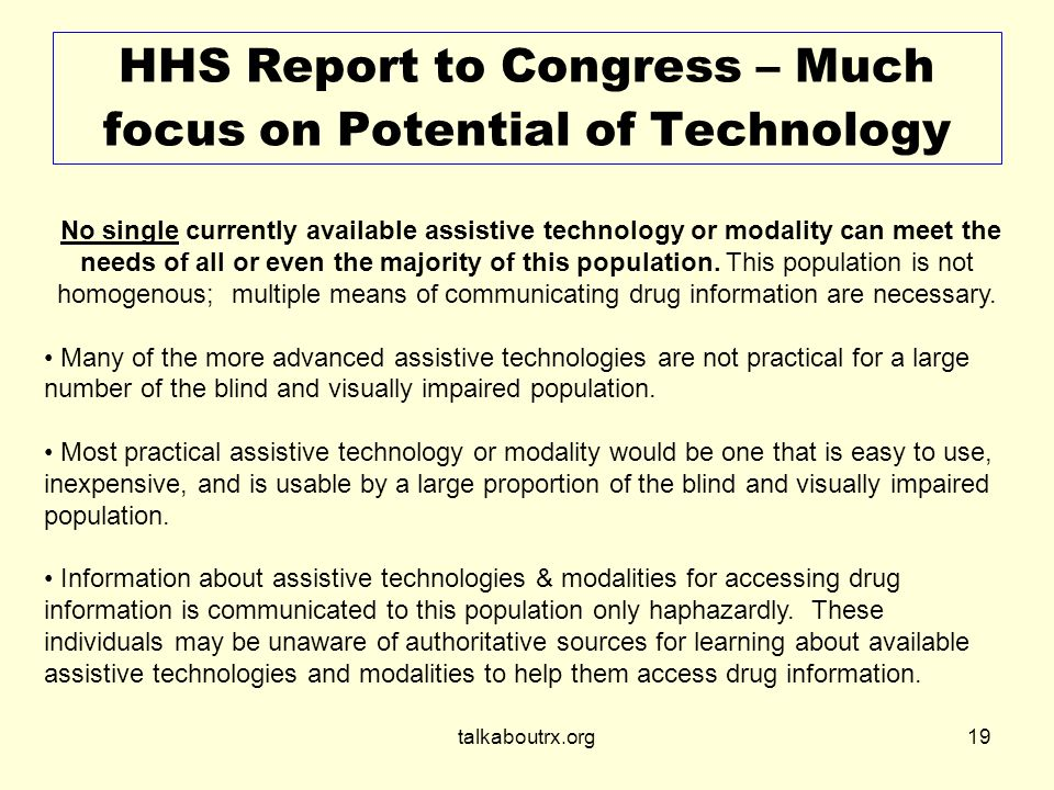 talkaboutrx.org19 HHS Report to Congress – Much focus on Potential of Technology.