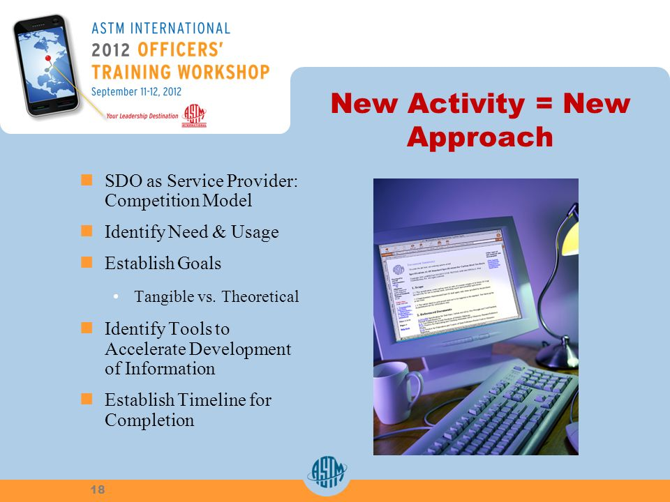 New Activity = New Approach SDO as Service Provider: Competition Model Identify Need & Usage Establish Goals Tangible vs.