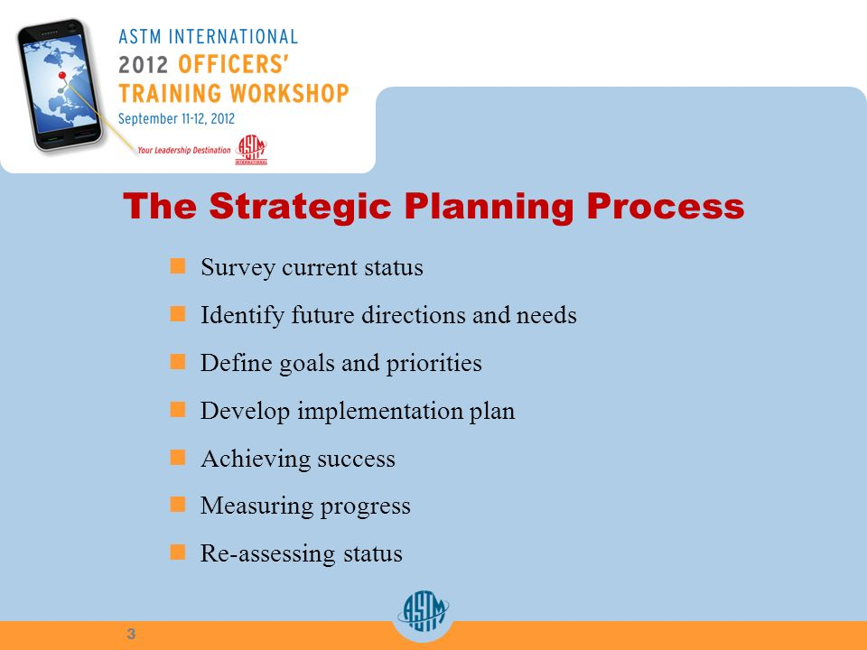 The Strategic Planning Process Survey current status Identify future directions and needs Define goals and priorities Develop implementation plan Achieving success Measuring progress Re-assessing status 3