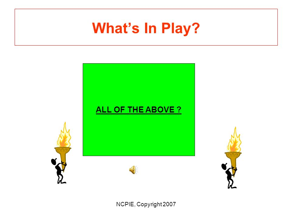 NCPIE, Copyright 2007 Whats in Play.