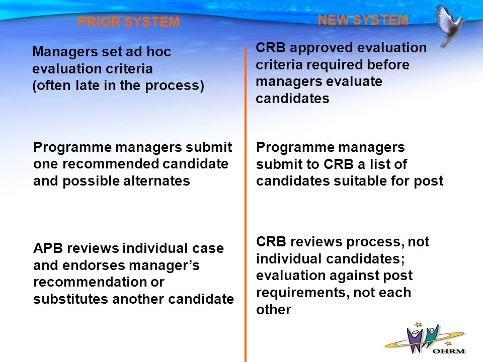 NEW SYSTEM PRIOR SYSTEM Programme managers submit to CRB a list of candidates suitable for post CRB reviews process, not individual candidates; evaluation against post requirements, not each other CRB approved evaluation criteria required before managers evaluate candidates Programme managers submit one recommended candidate and possible alternates APB reviews individual case and endorses managers recommendation or substitutes another candidate Managers set ad hoc evaluation criteria (often late in the process)