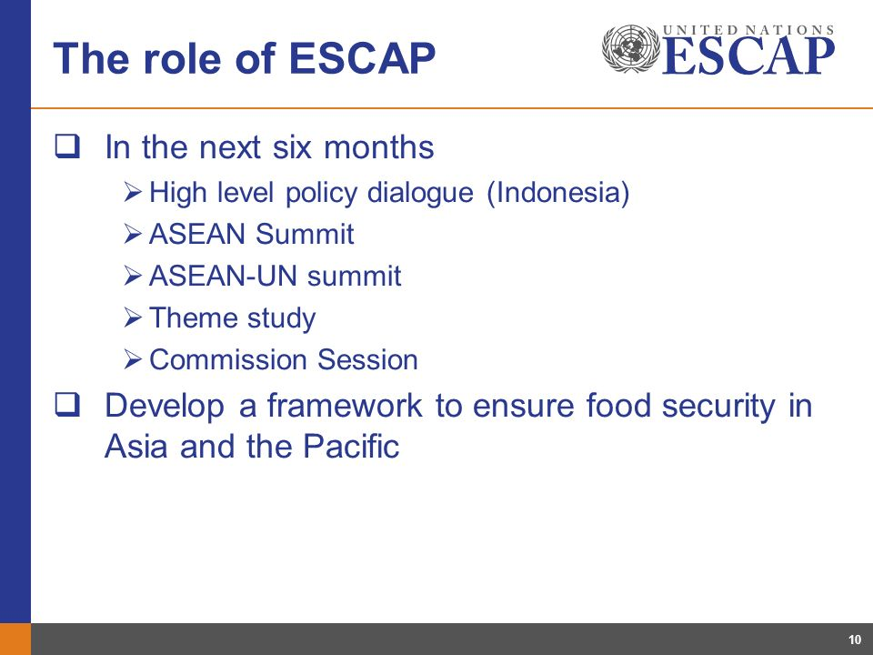 10 The role of ESCAP In the next six months High level policy dialogue (Indonesia) ASEAN Summit ASEAN-UN summit Theme study Commission Session Develop a framework to ensure food security in Asia and the Pacific