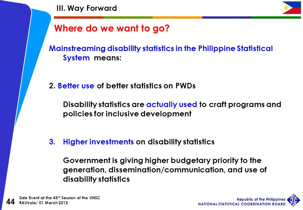 Side Event at the 43 rd Session of the UNSC RAVirola/ 01 March 2012 Republic of the Philippines NATIONAL STATISTICAL COORDINATION BOARD 44 Mainstreaming disability statistics in the Philippine Statistical System means: 2.