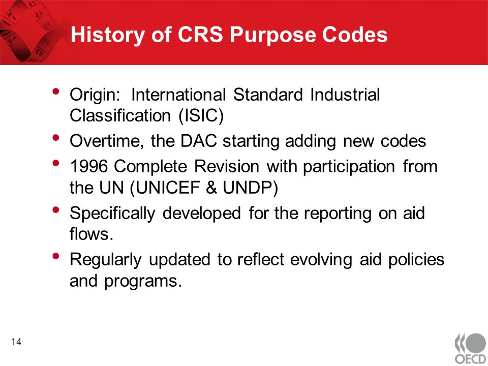 History of CRS Purpose Codes Origin: International Standard Industrial Classification (ISIC) Overtime, the DAC starting adding new codes 1996 Complete Revision with participation from the UN (UNICEF & UNDP) Specifically developed for the reporting on aid flows.