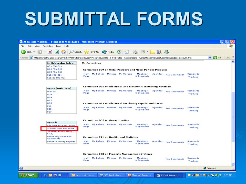 SUBMITTAL FORMS