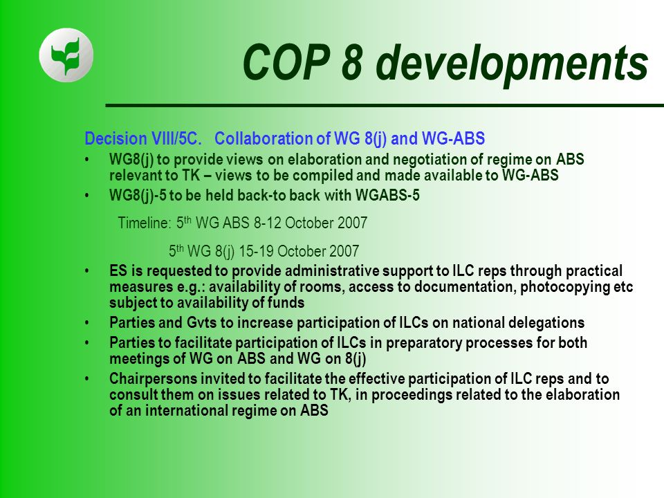 COP 8 developments Decision VIII/5C.