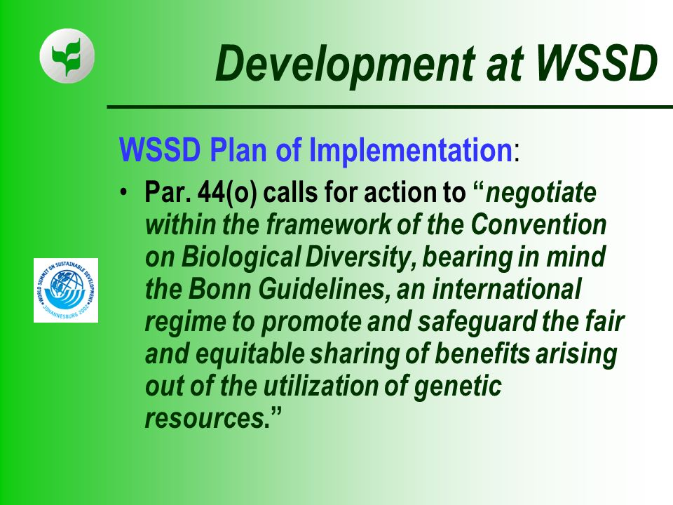 Development at WSSD WSSD Plan of Implementation : Par.