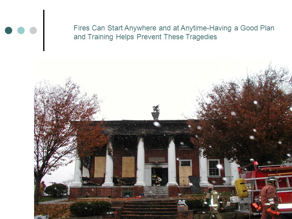 Fires Can Start Anywhere and at Anytime-Having a Good Plan and Training Helps Prevent These Tragedies