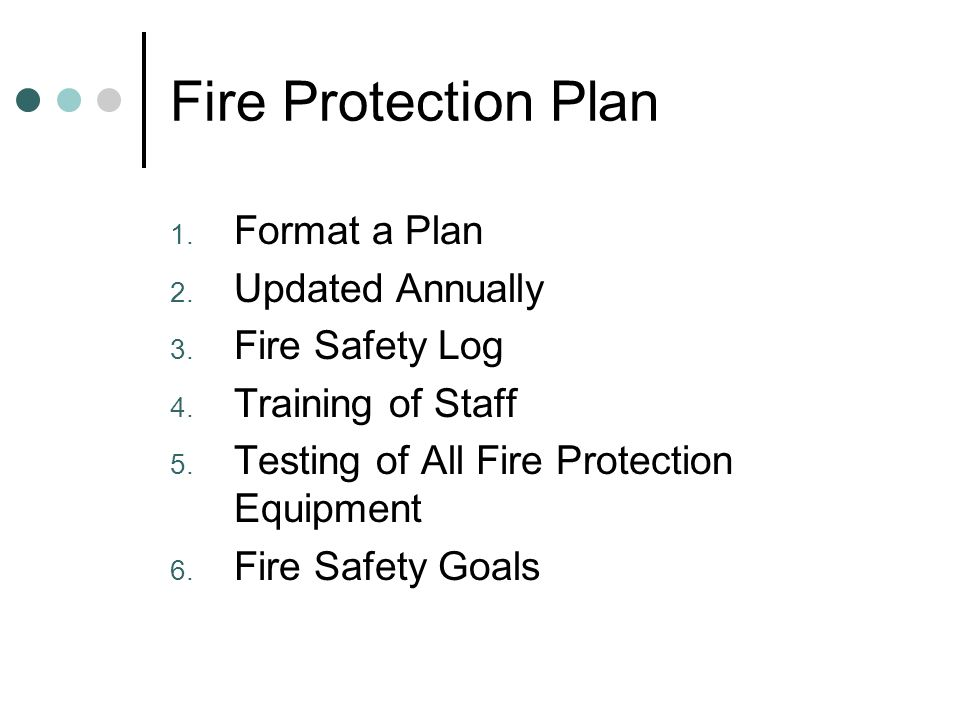 Fire Protection Plan 1. Format a Plan 2. Updated Annually 3.