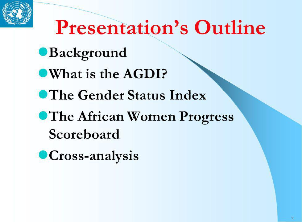 2 Presentations Outline Background What is the AGDI.