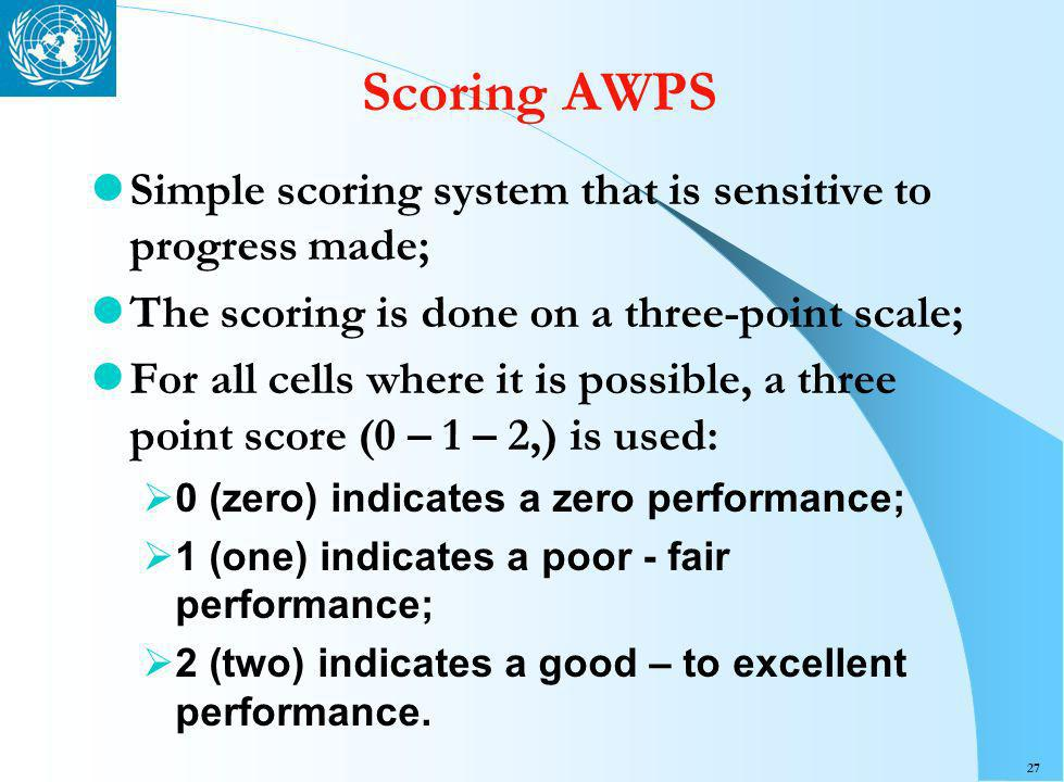 27 Scoring AWPS Simple scoring system that is sensitive to progress made; The scoring is done on a three-point scale; For all cells where it is possible, a three point score (0 – 1 – 2,) is used: 0 (zero) indicates a zero performance; 1 (one) indicates a poor - fair performance; 2 (two) indicates a good – to excellent performance.