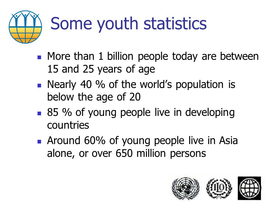 Some youth statistics More than 1 billion people today are between 15 and 25 years of age Nearly 40 % of the worlds population is below the age of 20 85 % of young people live in developing countries Around 60% of young people live in Asia alone, or over 650 million persons