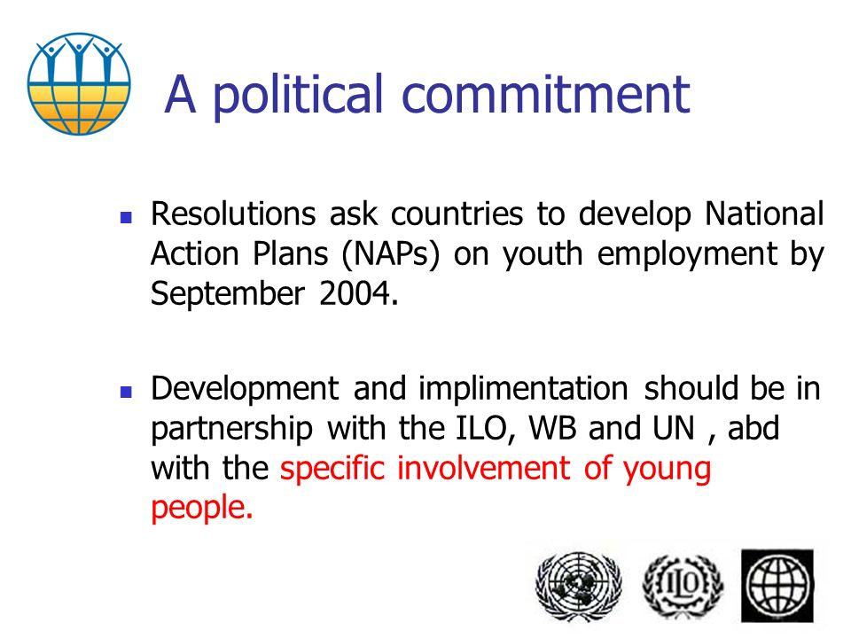 A political commitment Resolutions ask countries to develop National Action Plans (NAPs) on youth employment by September 2004.