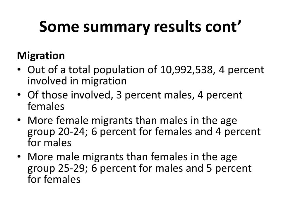 Some summary results cont Migration Out of a total population of 10,992,538, 4 percent involved in migration Of those involved, 3 percent males, 4 percent females More female migrants than males in the age group 20-24; 6 percent for females and 4 percent for males More male migrants than females in the age group 25-29; 6 percent for males and 5 percent for females
