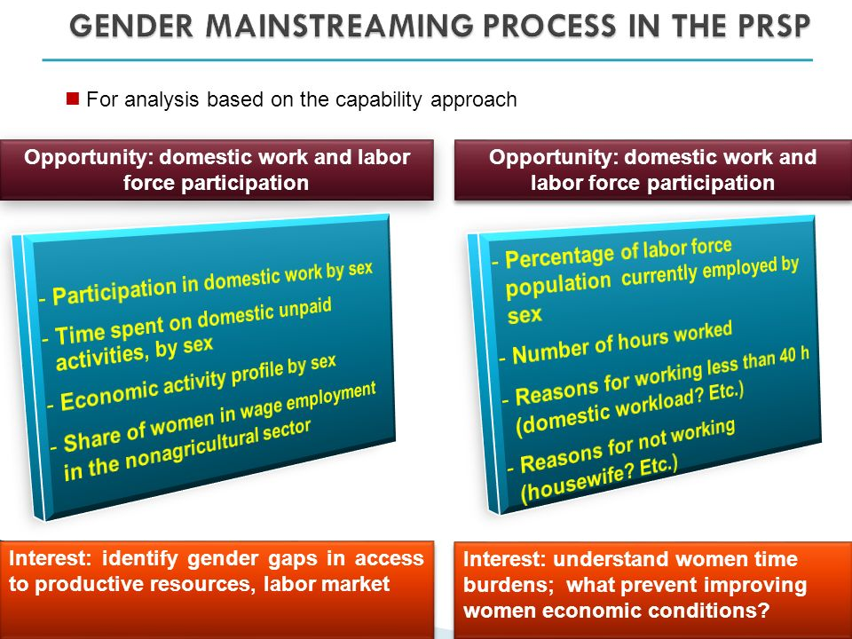 For analysis based on the capability approach Opportunity: domestic work and labor force participation Interest: identify gender gaps in access to productive resources, labor market Opportunity: domestic work and labor force participation Interest: understand women time burdens; what prevent improving women economic conditions