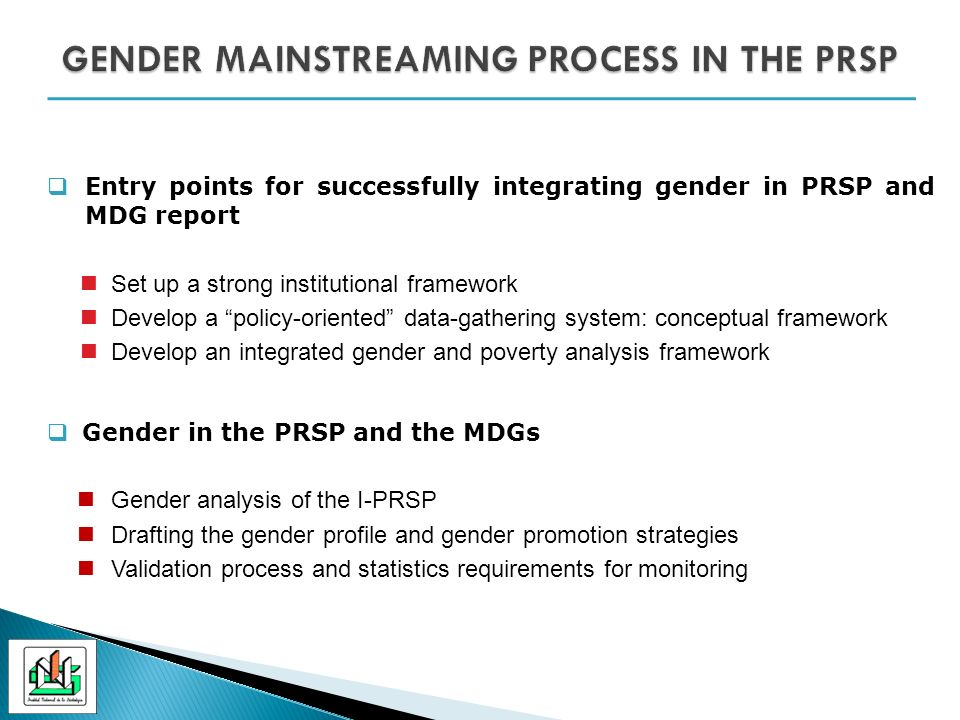 Entry points for successfully integrating gender in PRSP and MDG report Set up a strong institutional framework Develop a policy-oriented data-gathering system: conceptual framework Develop an integrated gender and poverty analysis framework Gender in the PRSP and the MDGs Gender analysis of the I-PRSP Drafting the gender profile and gender promotion strategies Validation process and statistics requirements for monitoring