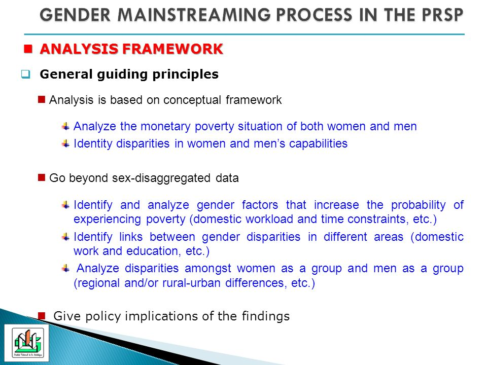ANALYSIS FRAMEWORK ANALYSIS FRAMEWORK General guiding principles Analysis is based on conceptual framework Analyze the monetary poverty situation of both women and men Identity disparities in women and mens capabilities Go beyond sex-disaggregated data Identify and analyze gender factors that increase the probability of experiencing poverty (domestic workload and time constraints, etc.) Identify links between gender disparities in different areas (domestic work and education, etc.) Analyze disparities amongst women as a group and men as a group (regional and/or rural-urban differences, etc.) Give policy implications of the findings