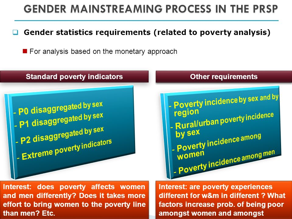 Gender statistics requirements (related to poverty analysis) For analysis based on the monetary approach Standard poverty indicators Interest: does poverty affects women and men differently.