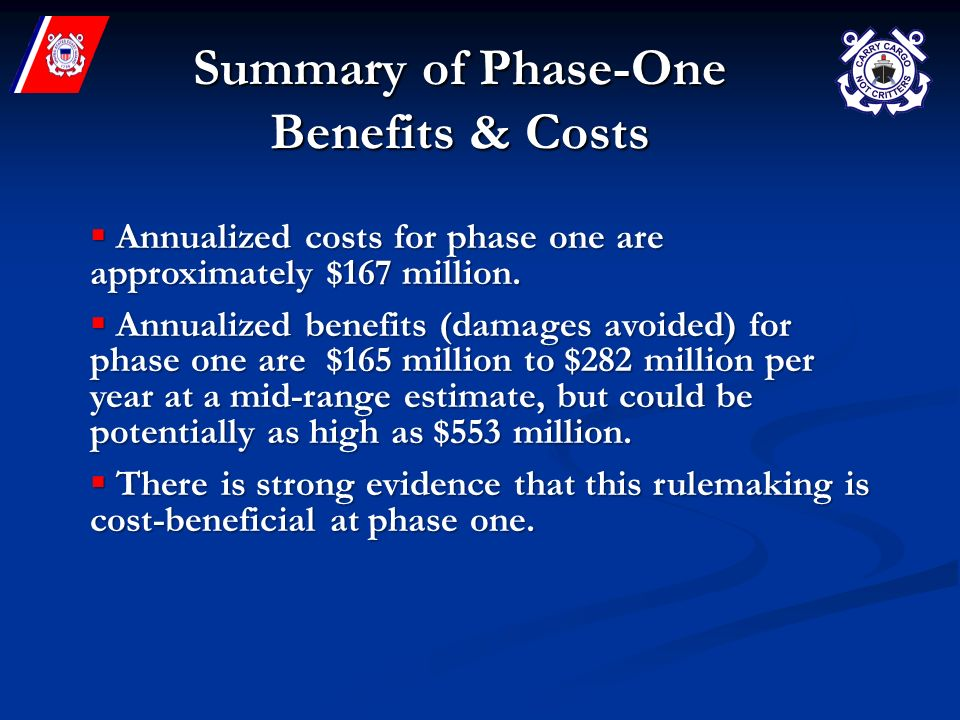 Summary of Phase-One Benefits & Costs Annualized costs for phase one are approximately $167 million.