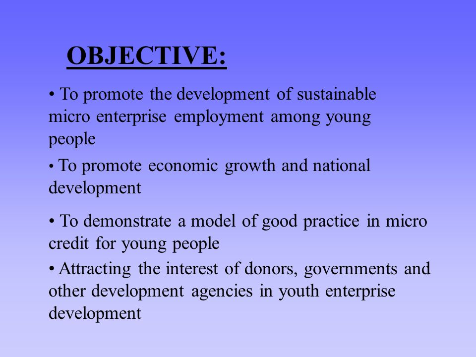 OBJECTIVE: To promote the development of sustainable micro enterprise employment among young people To promote economic growth and national development To demonstrate a model of good practice in micro credit for young people Attracting the interest of donors, governments and other development agencies in youth enterprise development