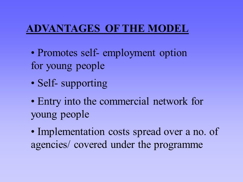 ADVANTAGES OF THE MODEL Promotes self- employment option for young people Self- supporting Entry into the commercial network for young people Implementation costs spread over a no.