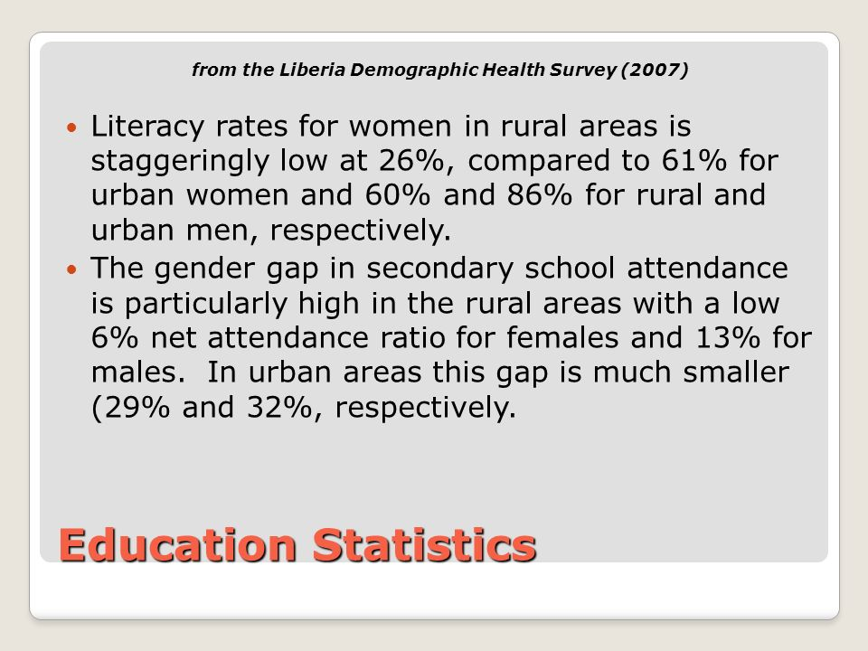 Education Statistics from the Liberia Demographic Health Survey (2007) Literacy rates for women in rural areas is staggeringly low at 26%, compared to 61% for urban women and 60% and 86% for rural and urban men, respectively.