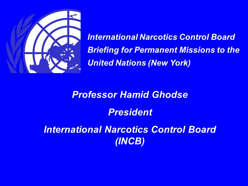 International Narcotics Control Board Briefing for Permanent Missions to the United Nations (New York) Professor Hamid Ghodse President International Narcotics Control Board (INCB)