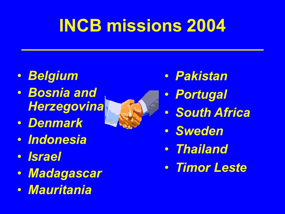 INCB missions 2004 Belgium Bosnia and Herzegovina Denmark Indonesia Israel Madagascar Mauritania Pakistan Portugal South Africa Sweden Thailand Timor Leste