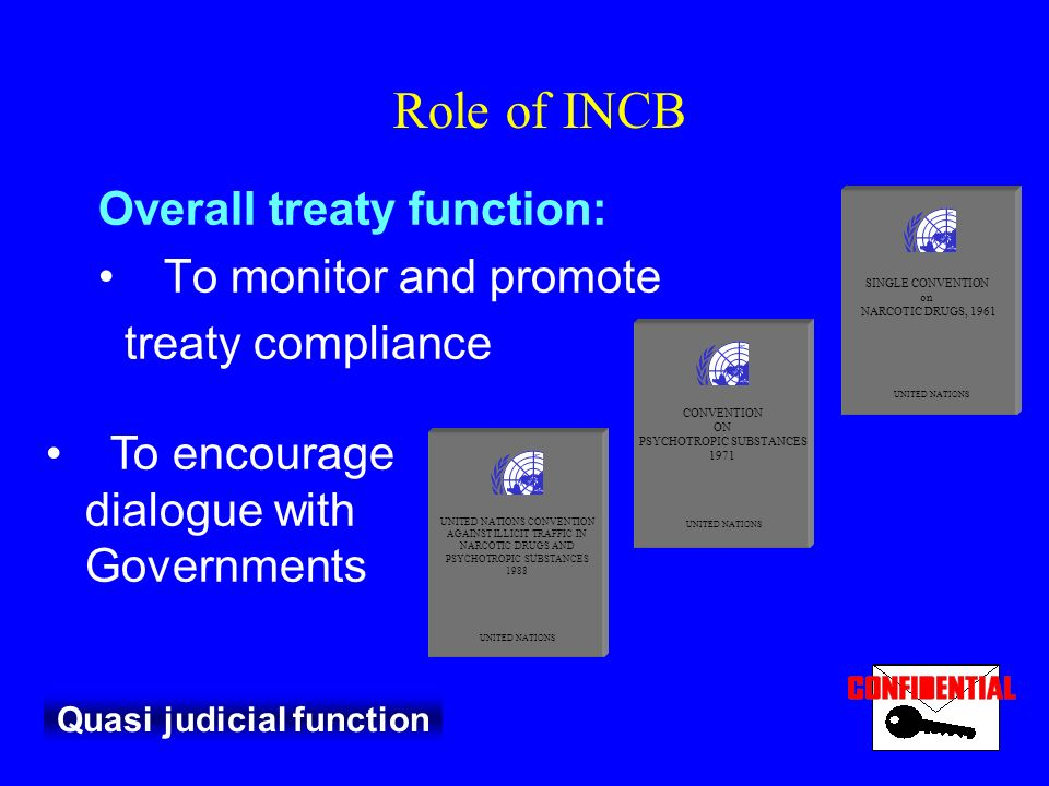Role of INCB Overall treaty function: To monitor and promote treaty compliance Quasi judicial function SINGLE CONVENTION on NARCOTIC DRUGS, 1961 UNITED NATIONS CONVENTION ON PSYCHOTROPIC SUBSTANCES 1971 UNITED NATIONS UNITED NATIONS CONVENTION AGAINST ILLICIT TRAFFIC IN NARCOTIC DRUGS AND PSYCHOTROPIC SUBSTANCES 1988 UNITED NATIONS To encourage dialogue with Governments