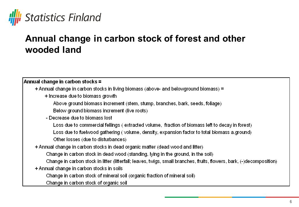 6 Annual change in carbon stock of forest and other wooded land