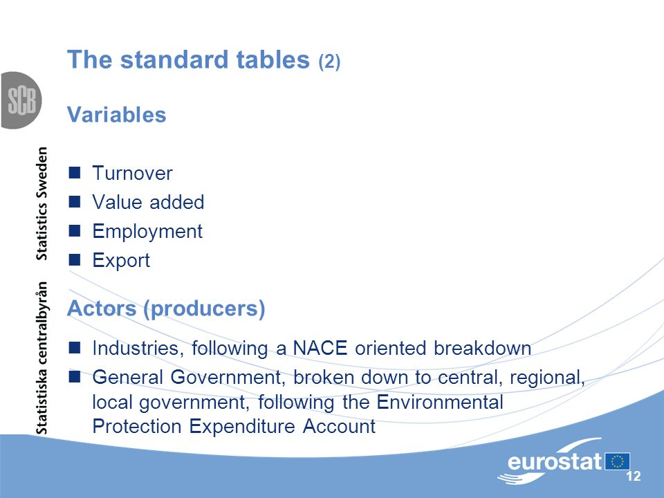 12 The standard tables (2) Variables Turnover Value added Employment Export Industries, following a NACE oriented breakdown General Government, broken down to central, regional, local government, following the Environmental Protection Expenditure Account Actors (producers)