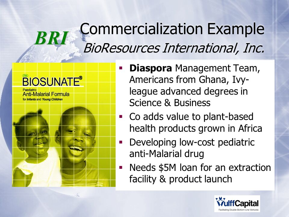 Commercialization Example BioResources International, Inc.