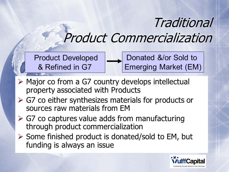 Traditional Product Commercialization Major co from a G7 country develops intellectual property associated with Products G7 co either synthesizes materials for products or sources raw materials from EM G7 co captures value adds from manufacturing through product commercialization Some finished product is donated/sold to EM, but funding is always an issue Donated &/or Sold to Emerging Market (EM) Product Developed & Refined in G7