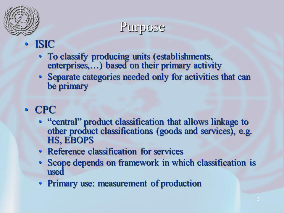 3 Purpose ISICISIC To classify producing units (establishments, enterprises,…) based on their primary activityTo classify producing units (establishments, enterprises,…) based on their primary activity Separate categories needed only for activities that can be primarySeparate categories needed only for activities that can be primary CPCCPC central product classification that allows linkage to other product classifications (goods and services), e.g.