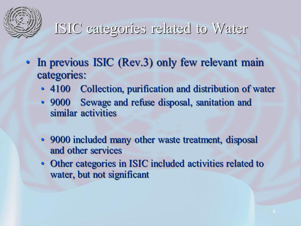 4 ISIC categories related to Water In previous ISIC (Rev.3) only few relevant main categories:In previous ISIC (Rev.3) only few relevant main categories: 4100 Collection, purification and distribution of water4100 Collection, purification and distribution of water 9000 Sewage and refuse disposal, sanitation and similar activities9000 Sewage and refuse disposal, sanitation and similar activities 9000 included many other waste treatment, disposal and other services9000 included many other waste treatment, disposal and other services Other categories in ISIC included activities related to water, but not significantOther categories in ISIC included activities related to water, but not significant