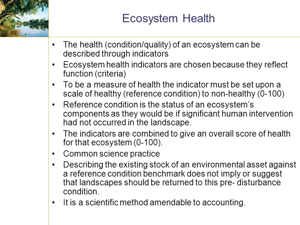 Ecosystem Health The health (condition/quality) of an ecosystem can be described through indicators Ecosystem health indicators are chosen because they reflect function (criteria) To be a measure of health the indicator must be set upon a scale of healthy (reference condition) to non-healthy (0-100) Reference condition is the status of an ecosystems components as they would be if significant human intervention had not occurred in the landscape.
