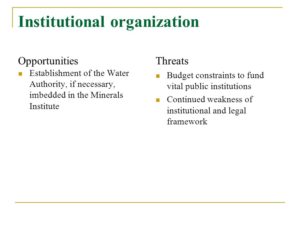 Institutional organization Opportunities Establishment of the Water Authority, if necessary, imbedded in the Minerals Institute Threats Budget constraints to fund vital public institutions Continued weakness of institutional and legal framework