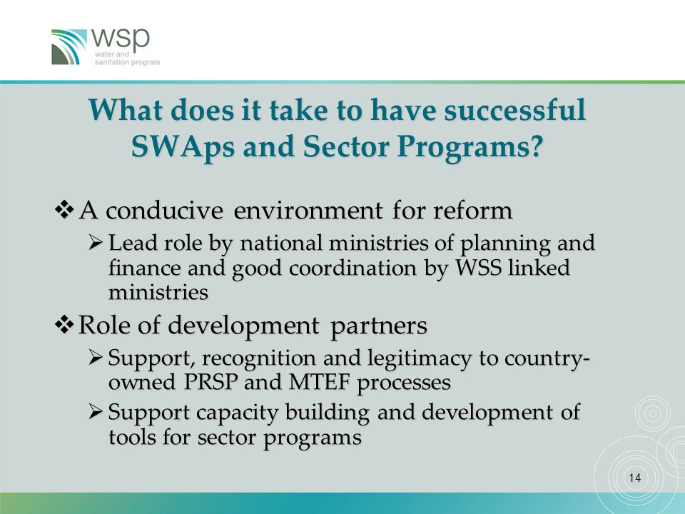 14 What does it take to have successful SWAps and Sector Programs.