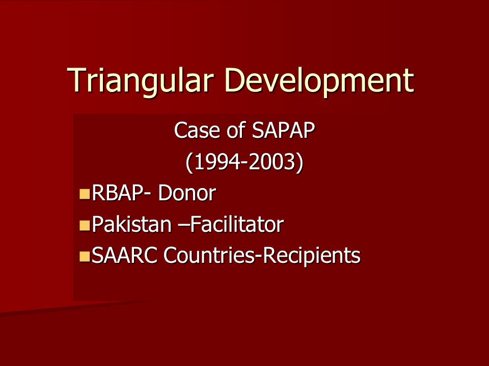 Triangular Development Case of SAPAP (1994-2003) RBAP- Donor RBAP- Donor Pakistan –Facilitator Pakistan –Facilitator SAARC Countries-Recipients SAARC Countries-Recipients