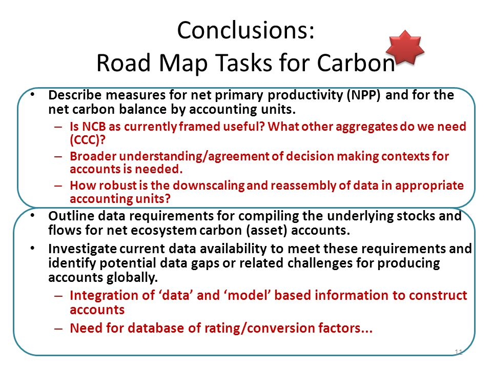Conclusions: Road Map Tasks for Carbon Describe measures for net primary productivity (NPP) and for the net carbon balance by accounting units.