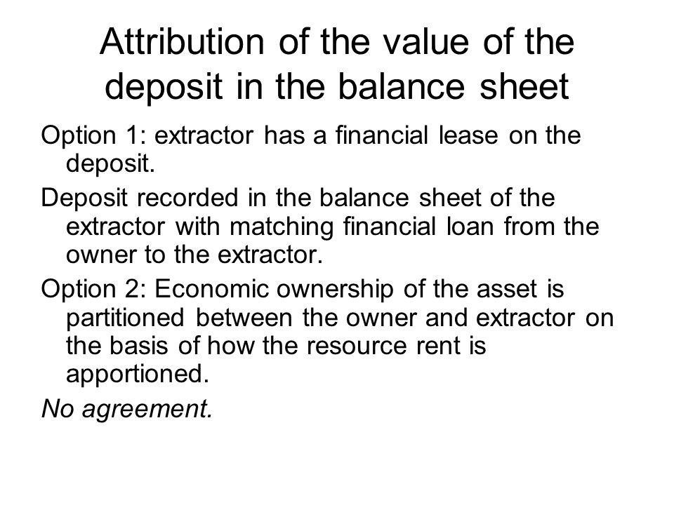 Attribution of the value of the deposit in the balance sheet Option 1: extractor has a financial lease on the deposit.