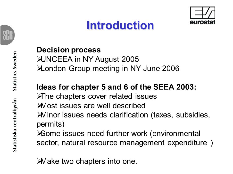 Introduction Decision process UNCEEA in NY August 2005 London Group meeting in NY June 2006 Ideas for chapter 5 and 6 of the SEEA 2003: The chapters cover related issues Most issues are well described Minor issues needs clarification (taxes, subsidies, permits) Some issues need further work (environmental sector, natural resource management expenditure ) Make two chapters into one.