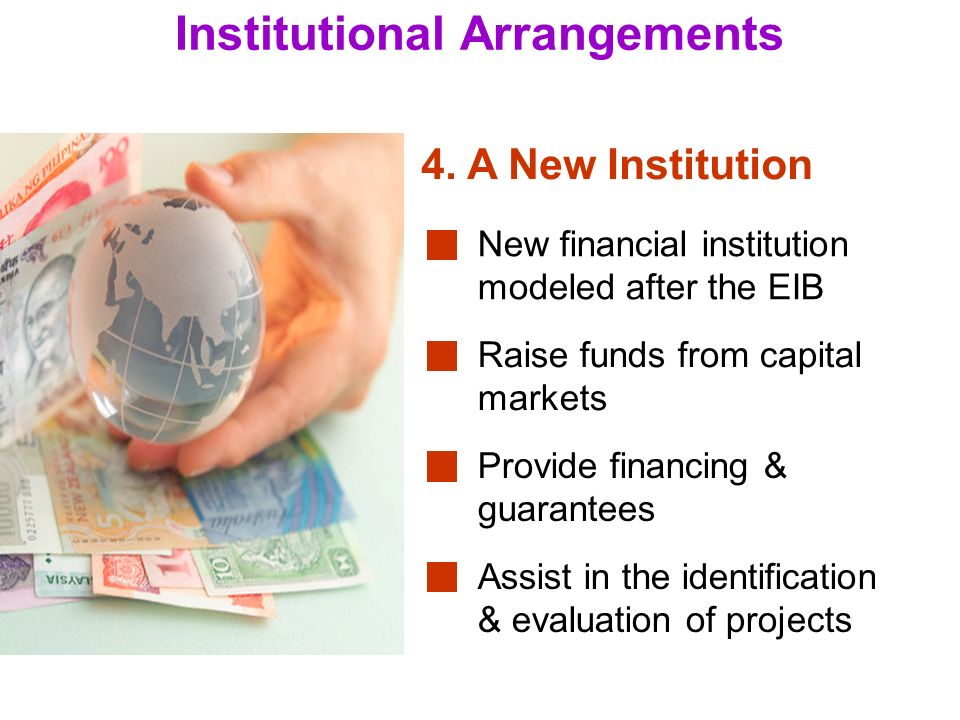 15 Institutional Arrangements New financial institution modeled after the EIB 4.