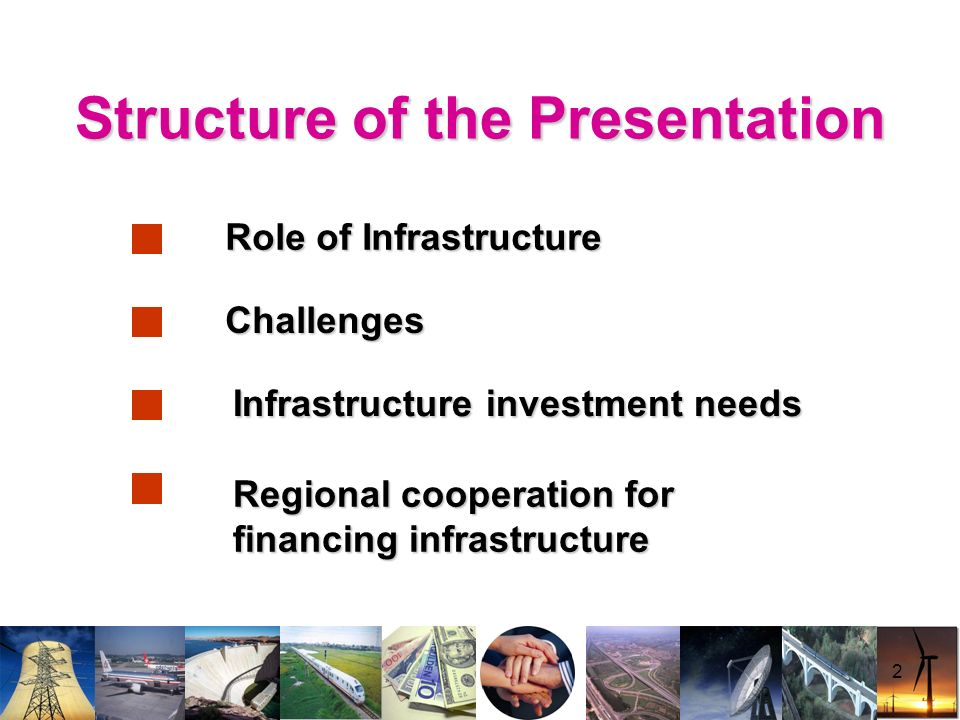 2 Structure of the Presentation Challenges Infrastructure investment needs Role of Infrastructure Regional cooperation for financing infrastructure