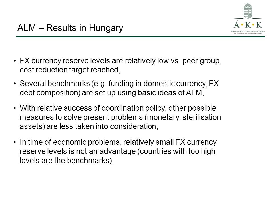 ALM – Results in Hungary FX currency reserve levels are relatively low vs.
