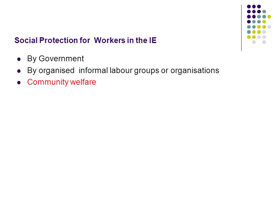 Social Protection for Workers in the IE By Government By organised informal labour groups or organisations Community welfare